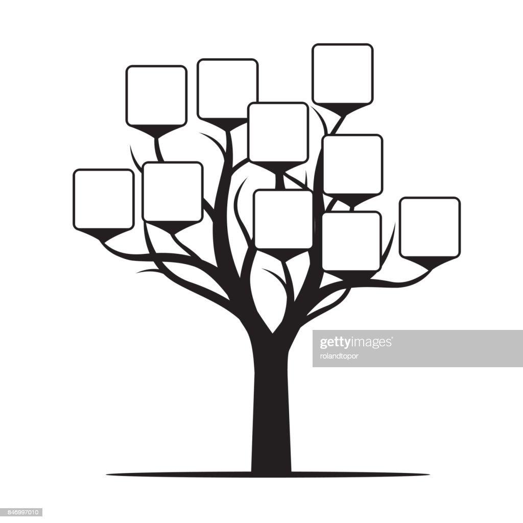 Black Tree with Borders. Vector Illustration.