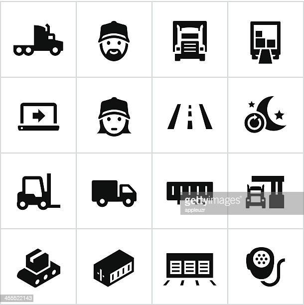 black trucking icons - loading dock stock illustrations