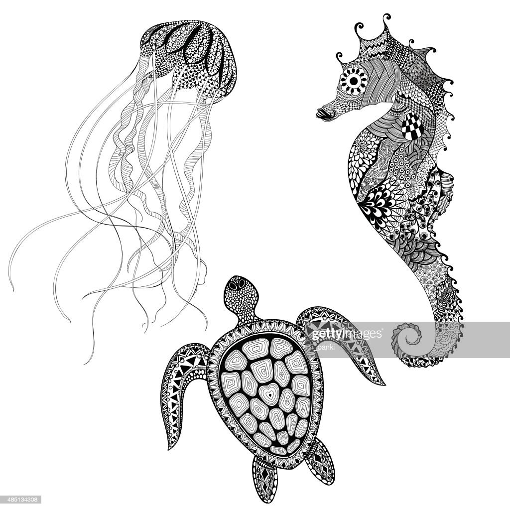 Black turtle, sea horse and jellyfish. Hand D