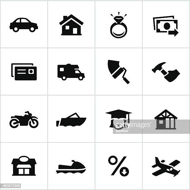 black types of loans icons - borrowing stock illustrations