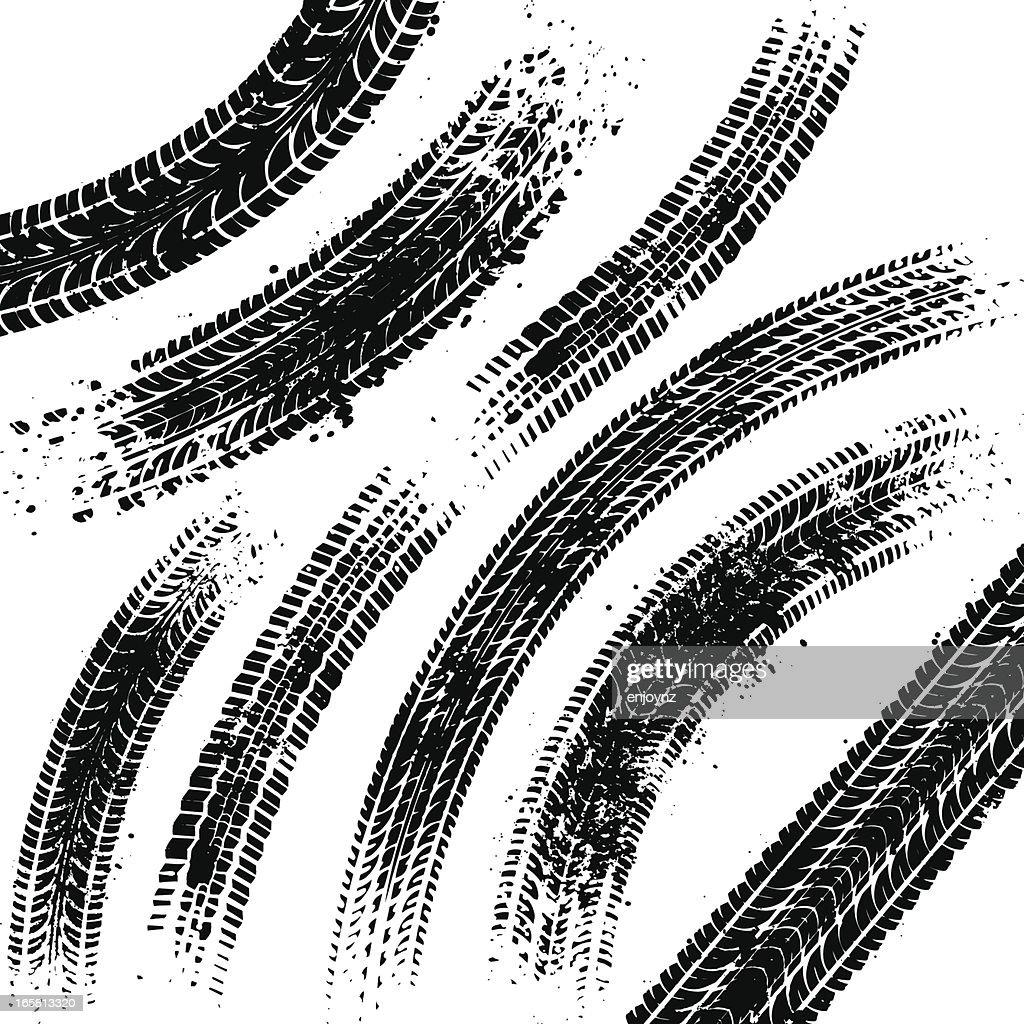 Black tyre tracks : stock illustration