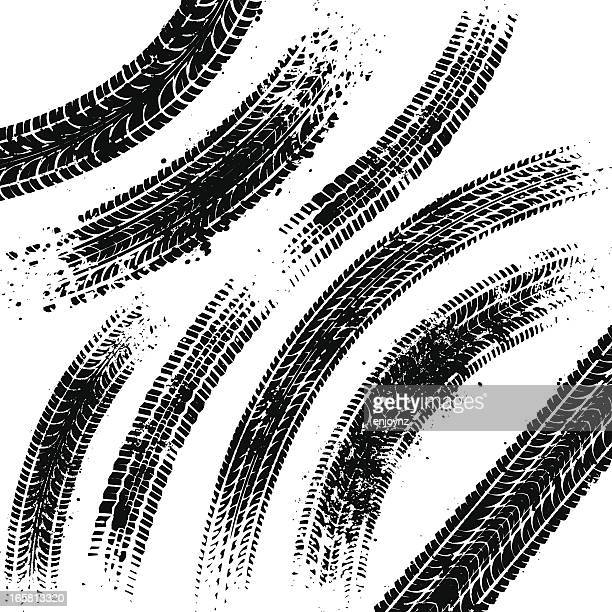 black tyre tracks - white background stock illustrations