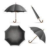 Black Umbrella Template Set. Vector