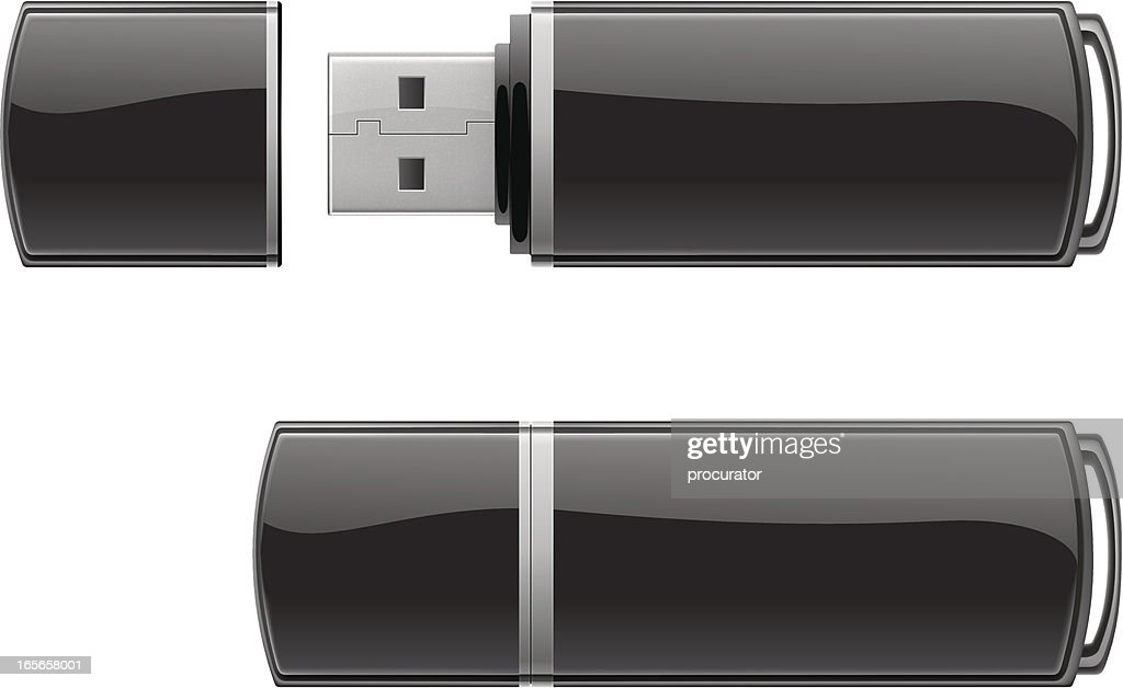 Black USB flash storage