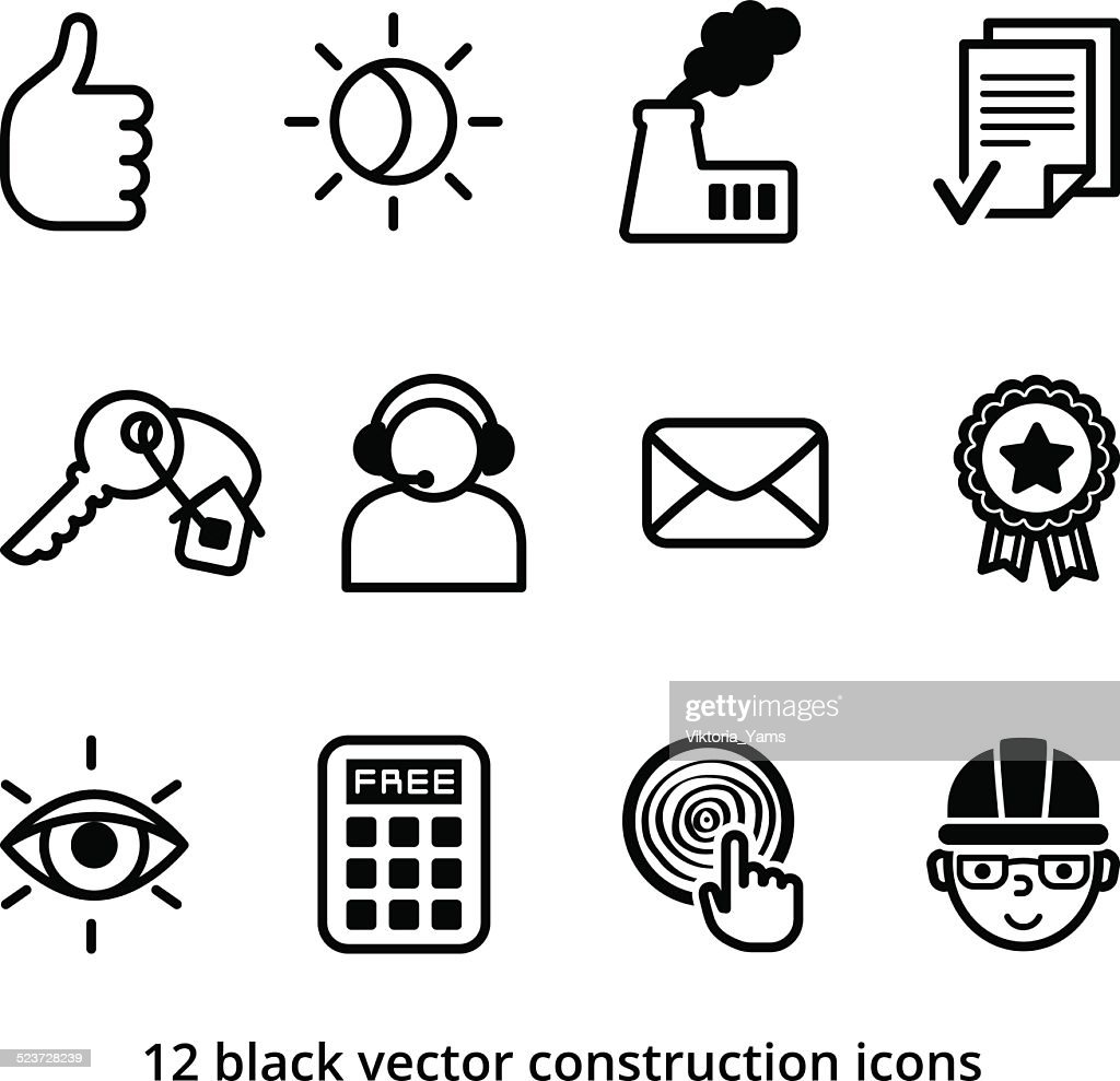 Black vector construction icons set