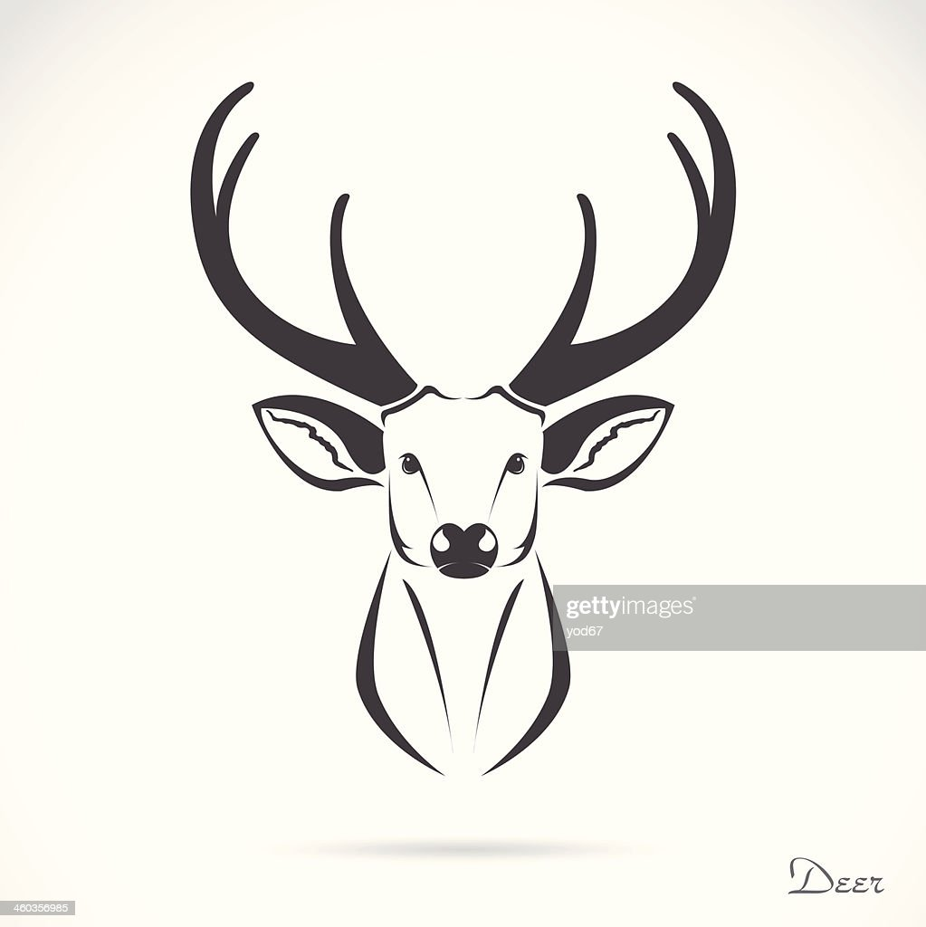 Black vector deer head on white background