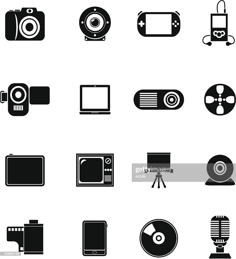 Black Vector Icons - Multimedia