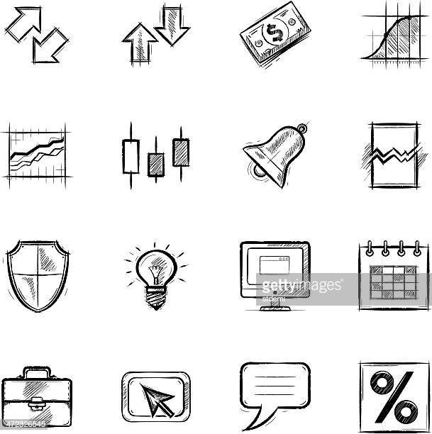 black vector icons relating to foreign exchange - sketch stock illustrations