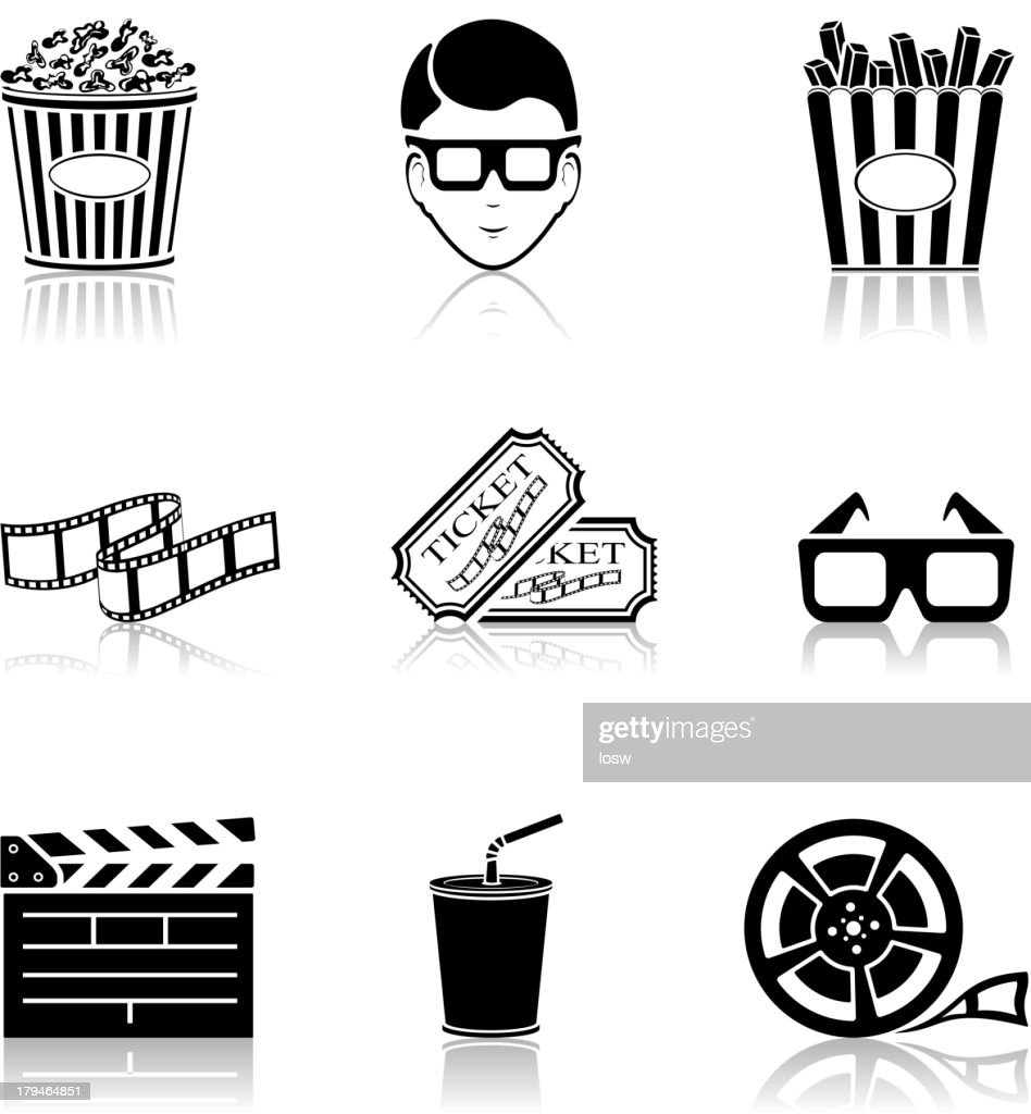 Black vector icons representing movies and the cinema