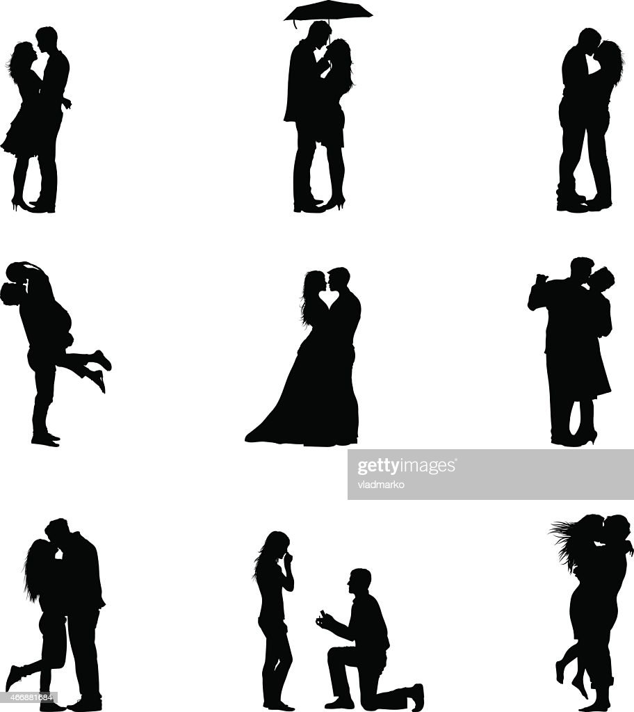 Black Vector Illustration Silhouette Couples In Love
