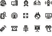 Black vector illustrations of multimedia icons on white