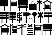 Black vector illustrations of various signs