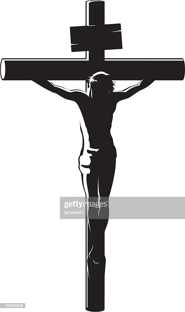 Black vector image of the Crucifixion of Christ on white : stock illustration