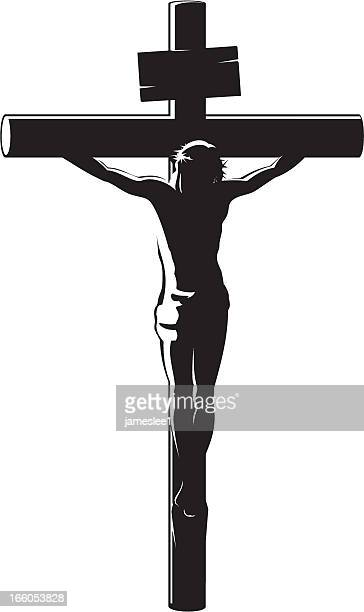 black vector image of the crucifixion of christ on white - jesus christ stock illustrations, clip art, cartoons, & icons