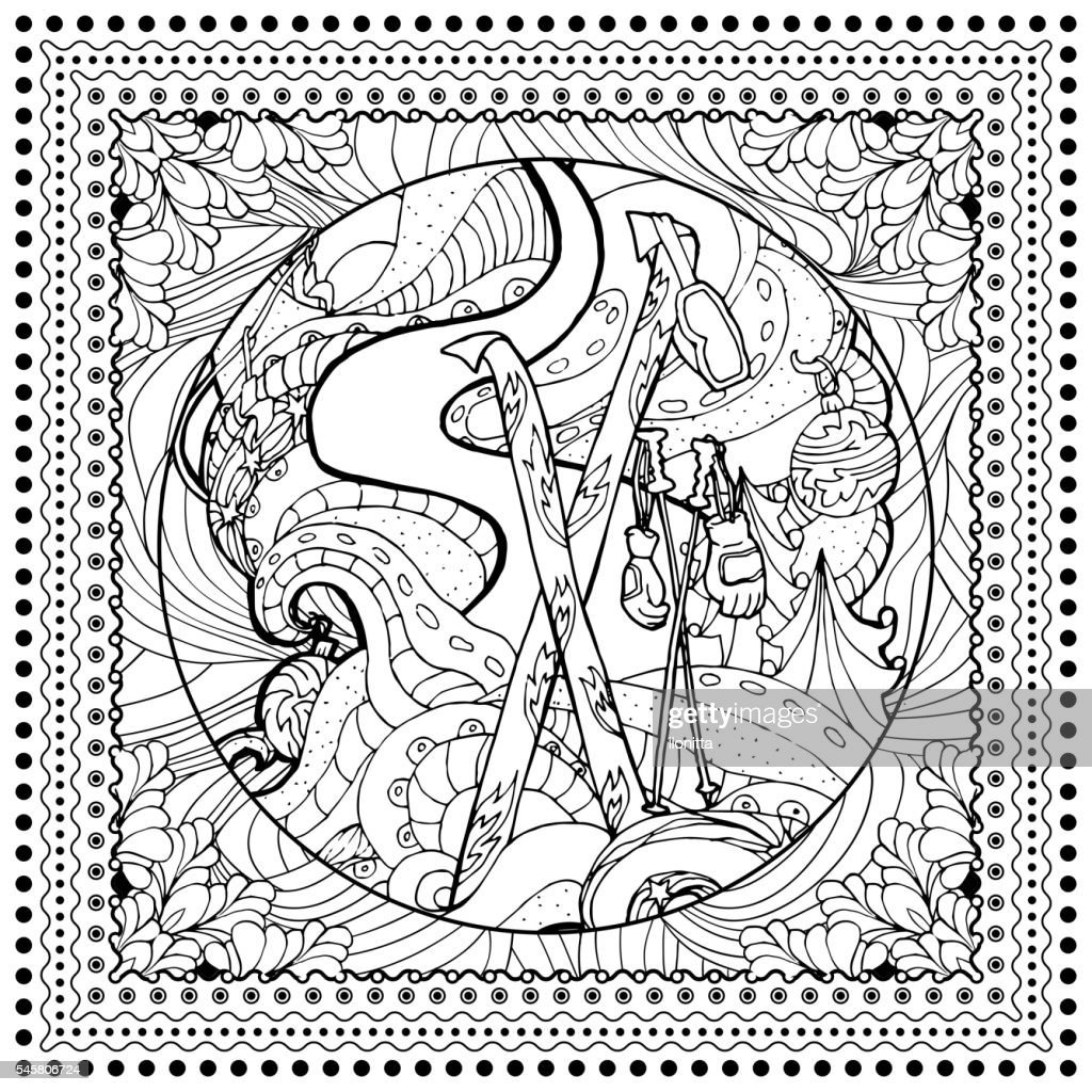 Black vector mono color illustration for Ski, Winter Sport print
