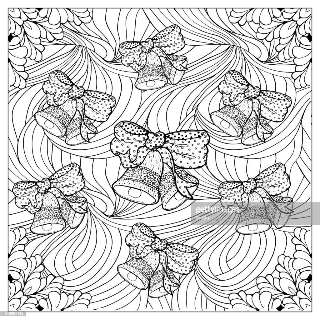 Black vector mono color illustration.Adult Coloring book page design