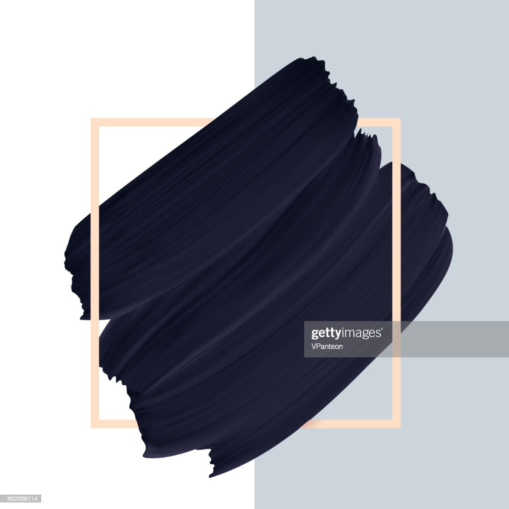 Black vector paint brush textured smudge isolated on white background in frame.