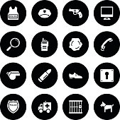 Black Vector Police Icons - 16 Icons