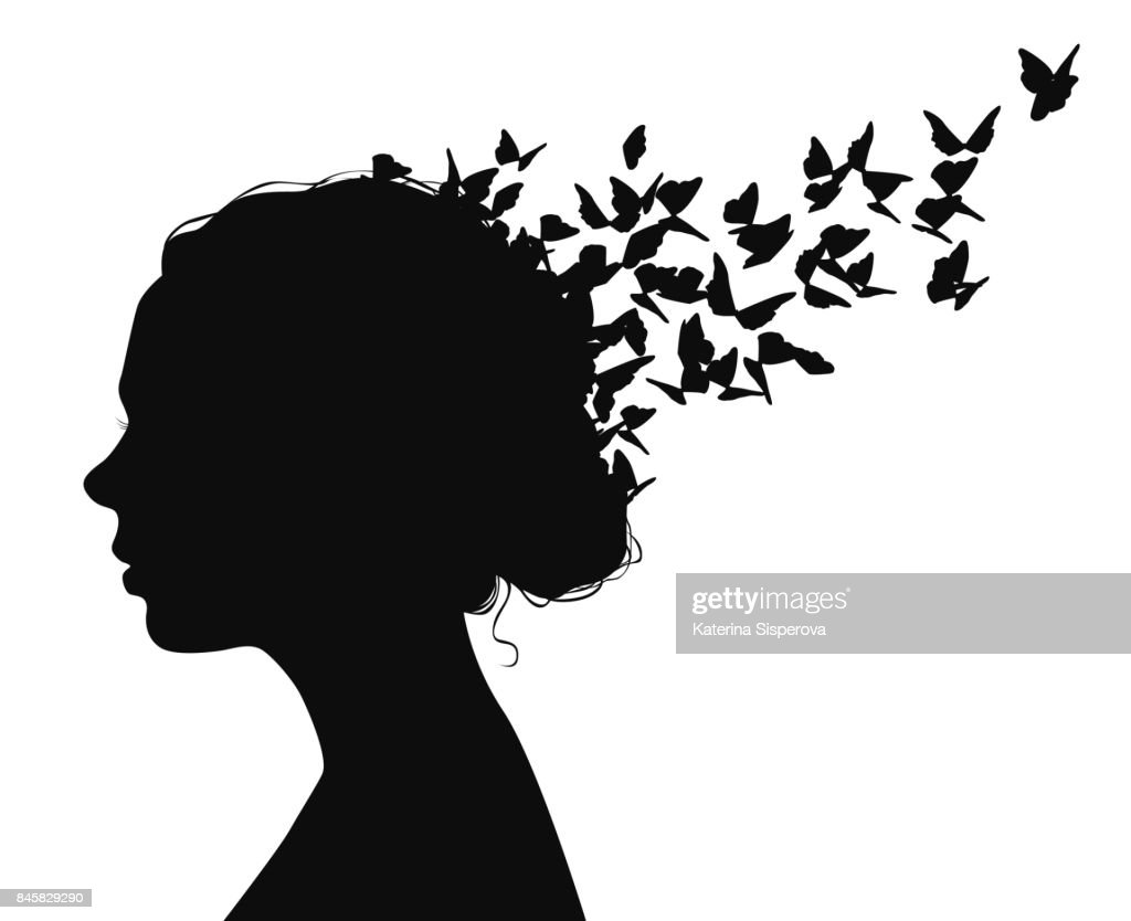 Black vector portrait of a woman with butterflies flying from her hair