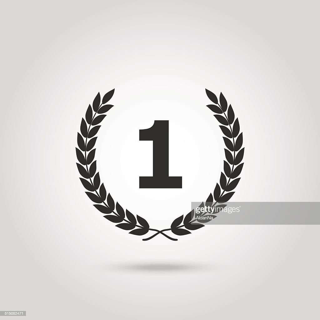Black vector silhouette winner icon with the number 1