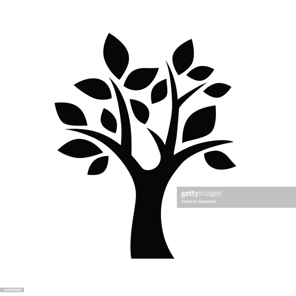 Black vector simple decorative tree icon isolated on white background
