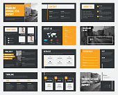 Black vector slides with gray and orange design elements and a place for photos.
