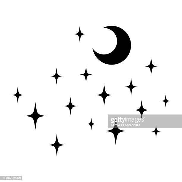 black vector stars moon minimal sparkles