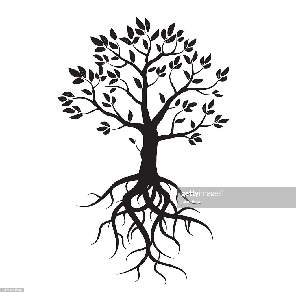 Black vector tree, leafs and roots.