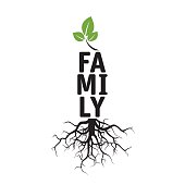Black vector Tree, Roots and text FAMILY