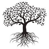 Black vector tree with roots and leafs.