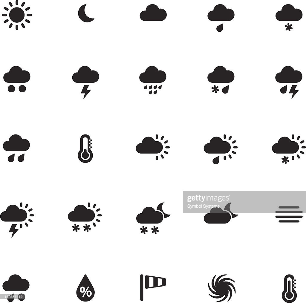Black vector weather icons of same size in a grid pattern