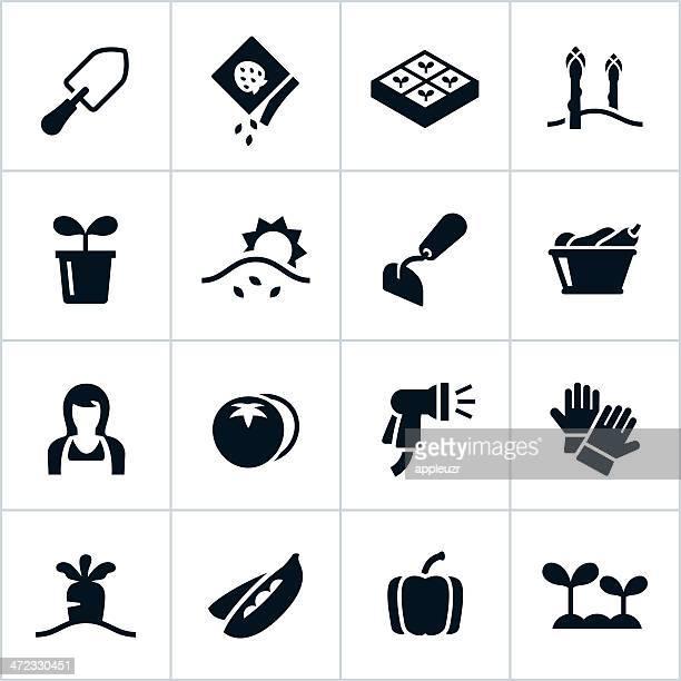 black vegetable garden icons - landscape gardener stock illustrations, clip art, cartoons, & icons