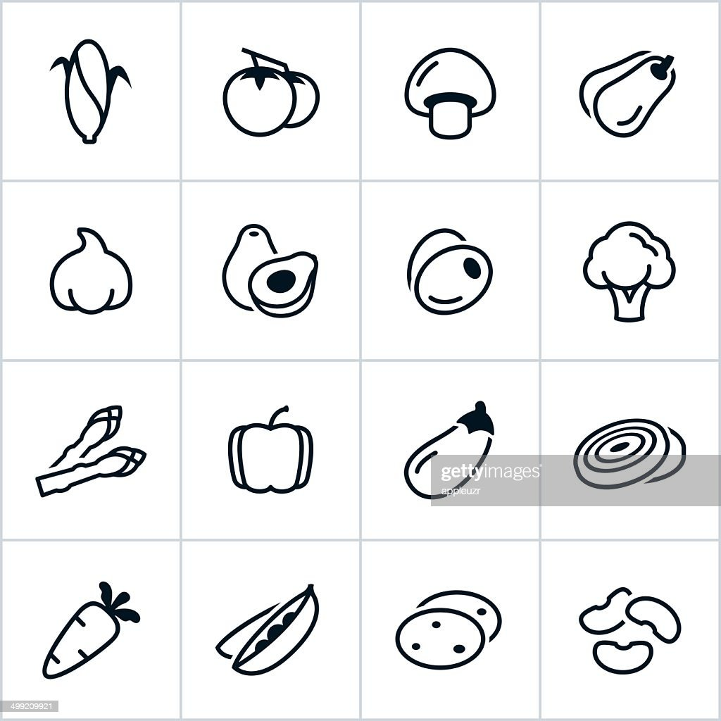 Black Vegetable Icons - Line Style