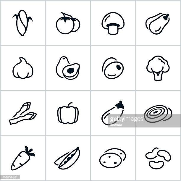 black vegetable icons - line style - broccoli stock illustrations, clip art, cartoons, & icons