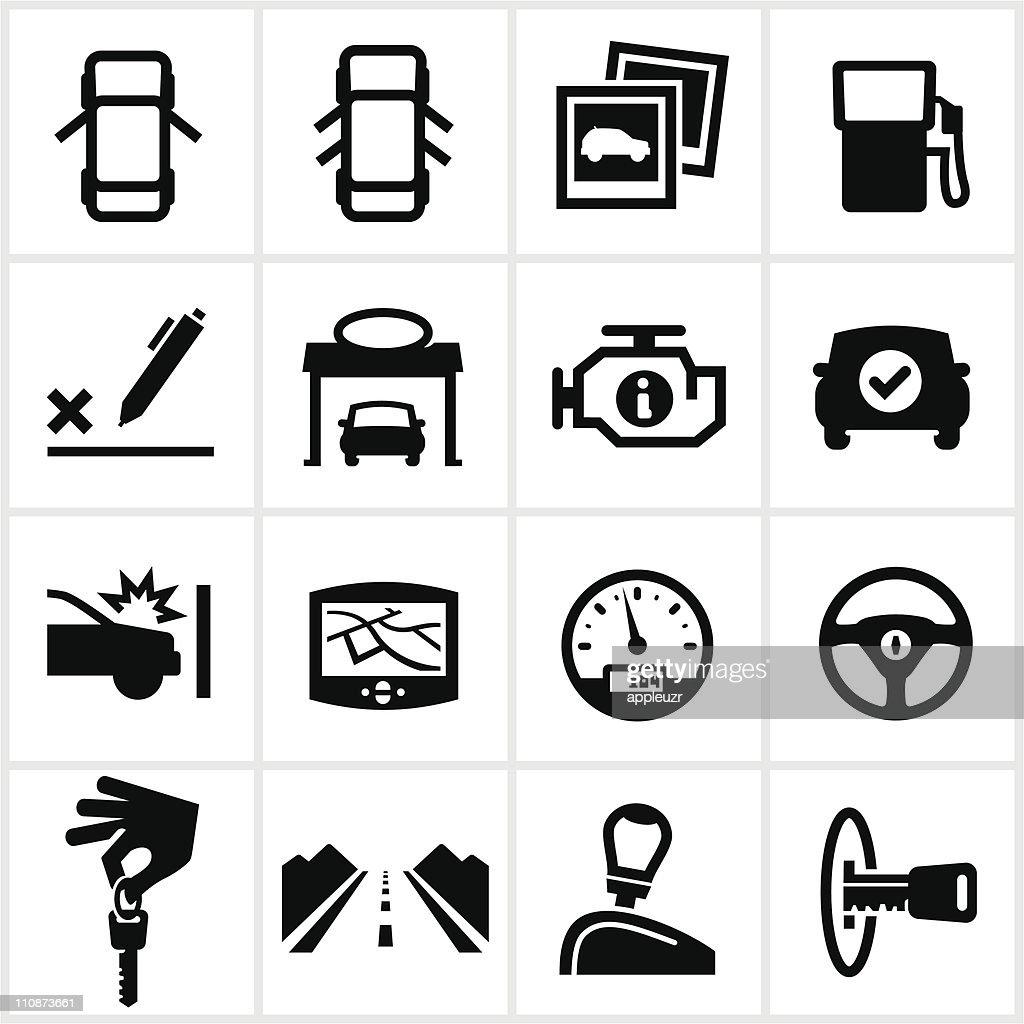 Preto veículo ícones : Ilustração