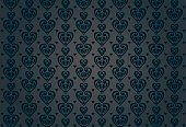 Black vintage background with hearts
