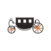 Black vintage brougham, carriage vector Illustration on a white background