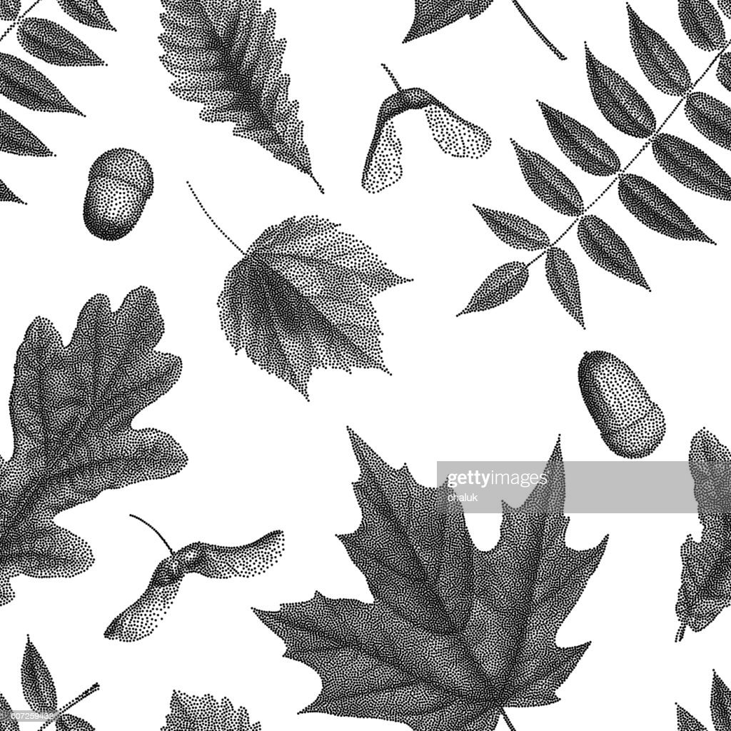 Black vintage engraving of autumn leaves