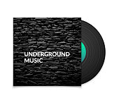 Black vintage vinyl record and black underground music cover case