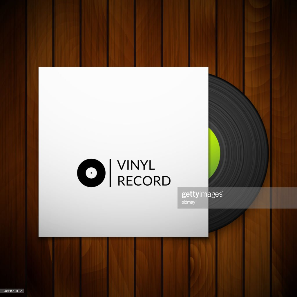 Black vintage vinyl record with blank cover case