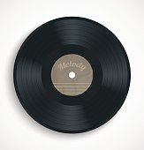 Black vinyl record album disc with blank brown label