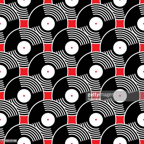black vinyl records seamless pattern - spinning stock illustrations