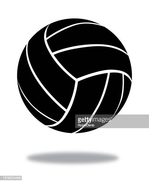 black volleyball icon - volleyball ball stock illustrations