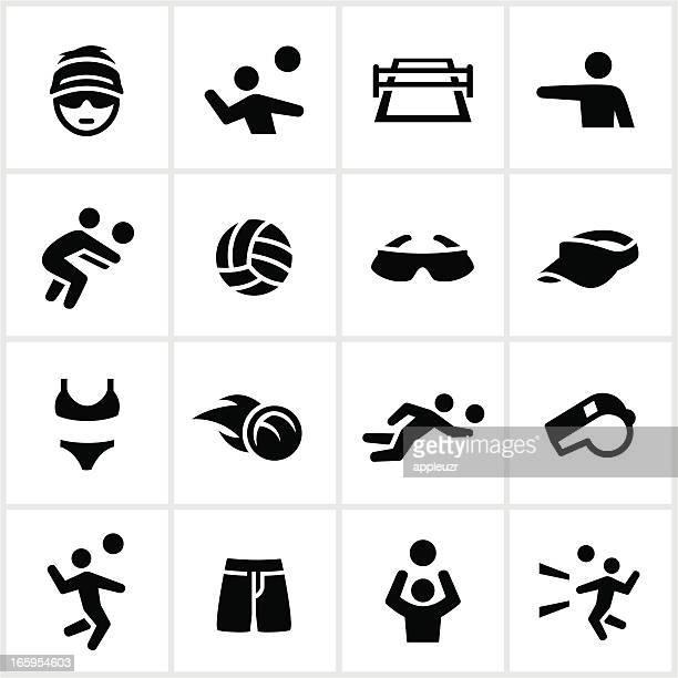 ilustraciones, imágenes clip art, dibujos animados e iconos de stock de voleibol iconos negro - vóleibol de playa