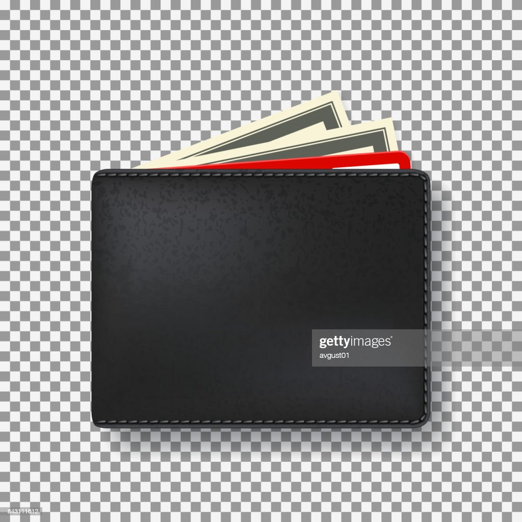 Black wallet isolated on transparent backdrop