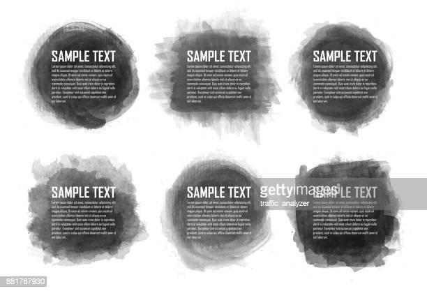schwarzer fleck aquarell - färbemittel stock-grafiken, -clipart, -cartoons und -symbole