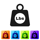 Black Weight pounds icon isolated on white background. Pounds weight block for weight lifting and scale. Mass symbol. Set icon in color square buttons. Vector Illustration