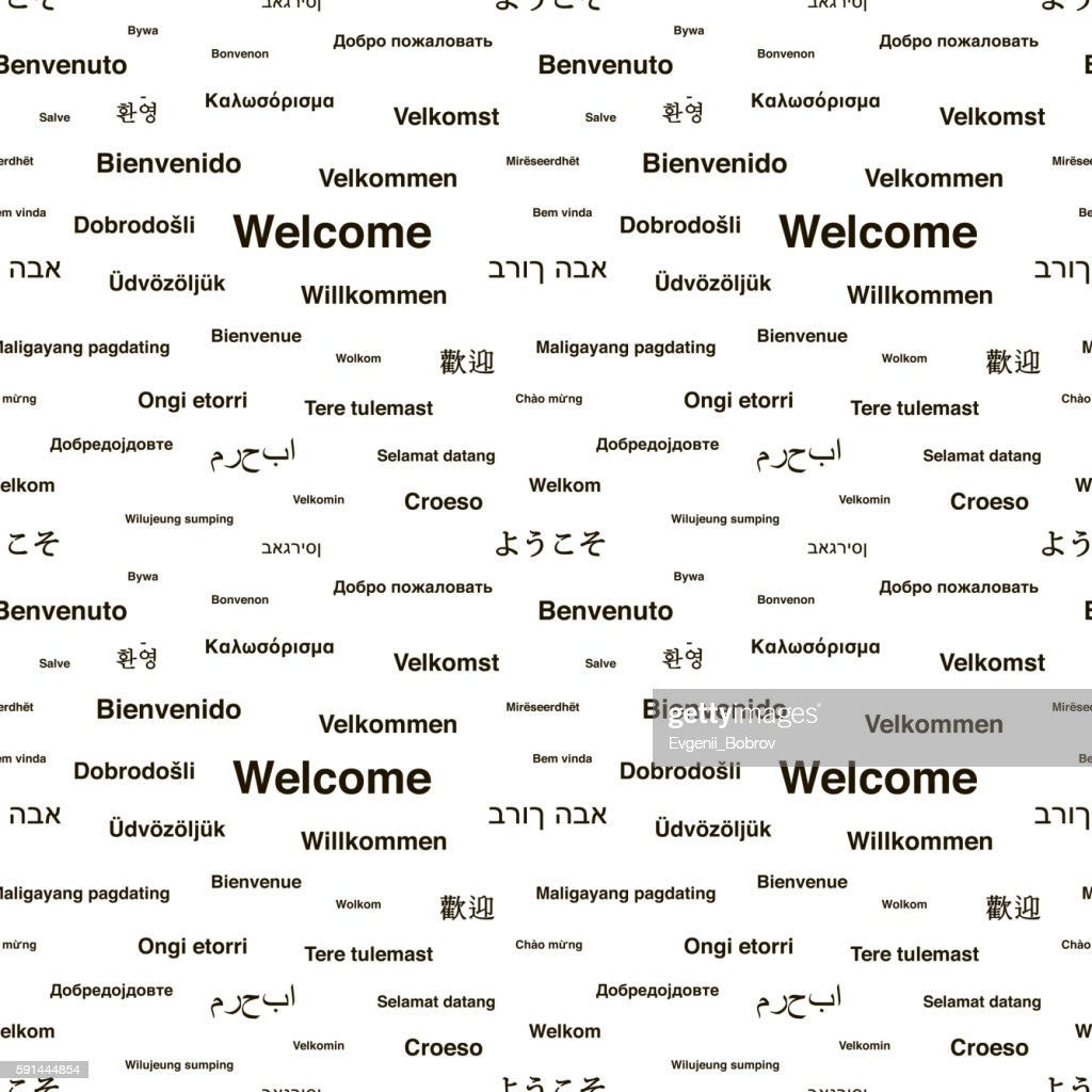 Black welcome phrases in different languages on white, seamless pattern