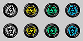 Black Wheel with Electric Sign. Vector