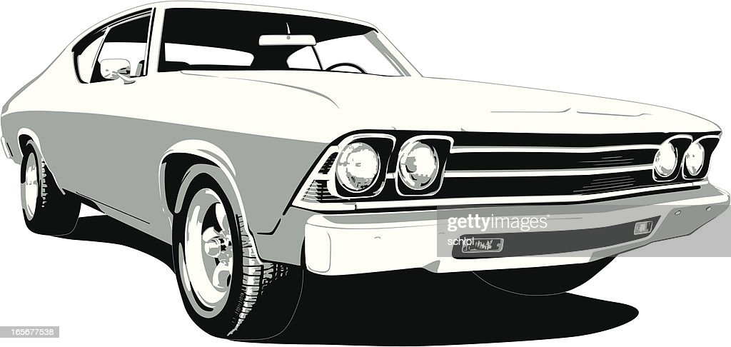 Black & Weiß 1969 Chevelle SS : Stock-Illustration